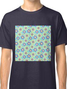 Abstract purple yellow retro flowers pattern  Classic T-Shirt