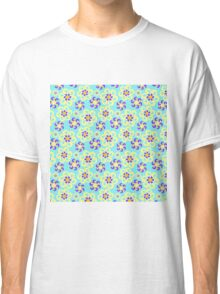 Abstract purple yellow retro flowers pattern  Classic T-Shirt