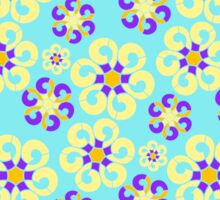 Abstract purple yellow retro flowers pattern  Sticker