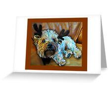 Terrier as reindeer Christmas Cards Greeting Card