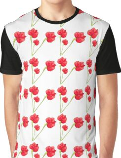 Cute red green abstract poppy floral pattern Graphic T-Shirt