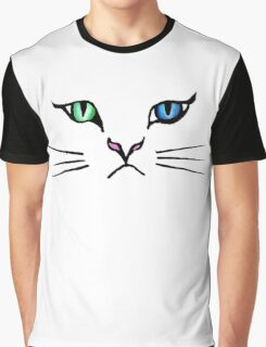 Cute Hand Drawn Kitten Face Graphic T-Shirt