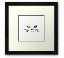 Cute Hand Drawn Kitten Face Framed Print