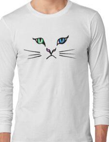 Cute Hand Drawn Kitten Face Long Sleeve T-Shirt