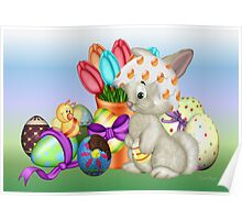 Bunny with lots of chocolate eggs Poster