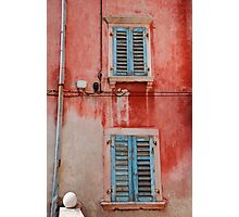 Tatty Blue Shutters, Slovenia Photographic Print