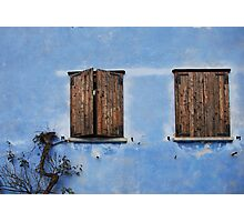 Two Windows in Blue Wall in Topolo Photographic Print