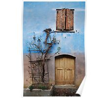 Window and Door in Blue Wall, Topolo Poster