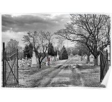 Cemetary in B&W Poster