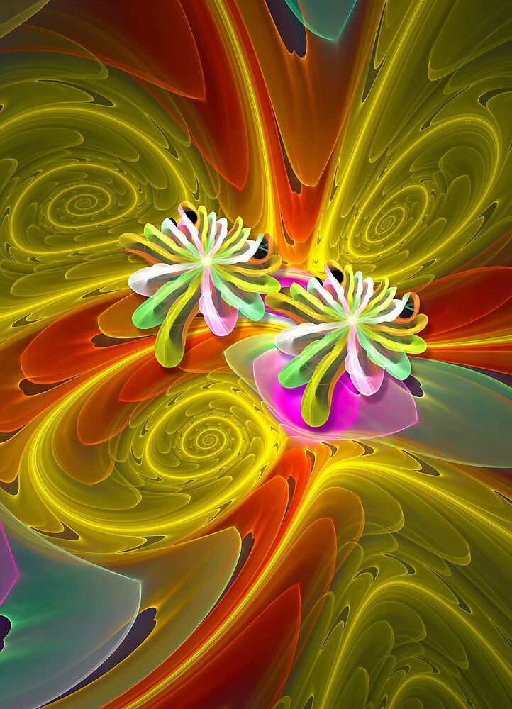 Lotus flowers and Spirals fractal artwork by walstraasart