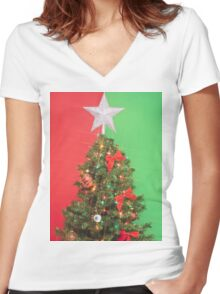 colorblock christmas tree Women's Fitted V-Neck T-Shirt