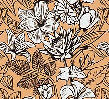 Vintage Tropical Flowers Wallpaper iPhone Case by wlartdesigns