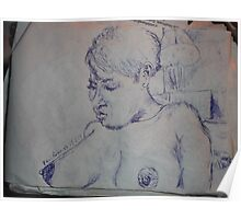 Female Nude/Study -(250313)- Blue biro pen/A5 sketchbook Poster