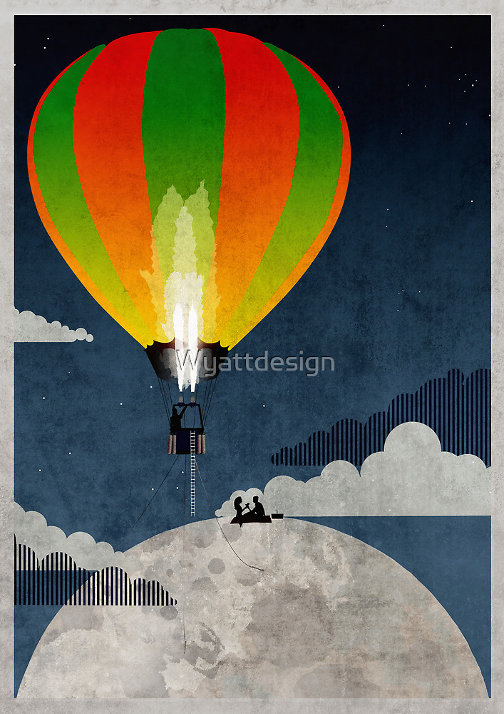 Picnic in a Balloon on the Moon by Wyattdesign