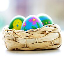 three easter eggs in a little basket ... by Gregoria  Gregoriou Crowe