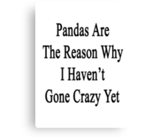 Pandas Are The Reason Why I Haven't Gone Crazy Yet Canvas Print