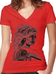 B&W Fashion Illustration - Wilko Johnson Women's Fitted V-Neck T-Shirt