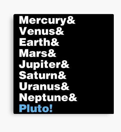 Planets Helvetica Canvas Print