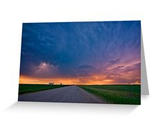Storm Clouds over Saskatchewan country road Greeting Card