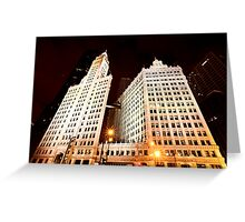 Chicago Downtown City  Night Photography Wrigley Square Greeting Card