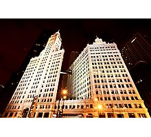 Chicago Downtown City  Night Photography Wrigley Square Photographic Print