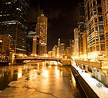 Chicago Downtown City  Night Photography by pictureguy