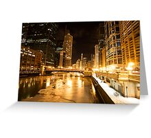 Chicago Downtown City  Night Photography Greeting Card