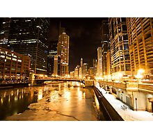 Chicago Downtown City  Night Photography Photographic Print
