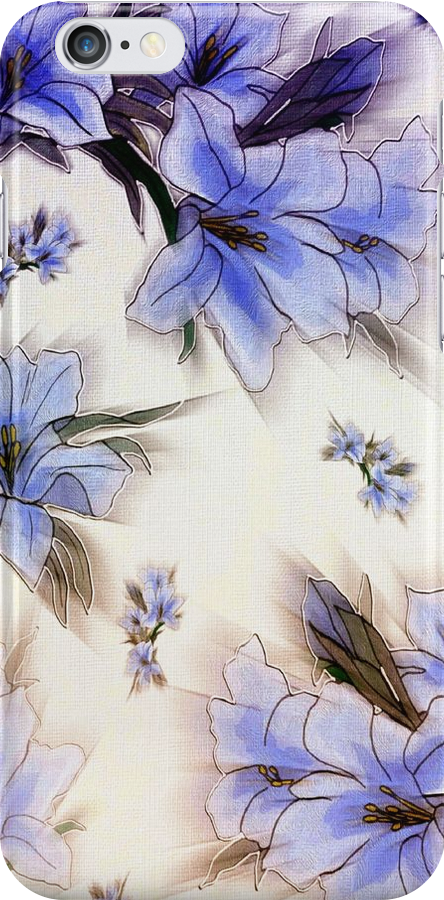 Blue Flower Wallpaper iPhone Case by wlartdesigns