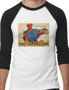 French Vintage Motorcycle Poster Men's Baseball ¾ T-Shirt