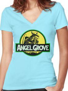 Angel Grove: Dragonzord Women's Fitted V-Neck T-Shirt