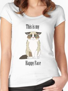 Happy Face - Grumpy Cat Women's Fitted Scoop T-Shirt
