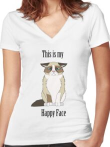 Happy Face - Grumpy Cat Women's Fitted V-Neck T-Shirt