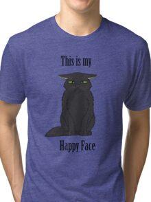 Happy Face - Black Cat Tri-blend T-Shirt
