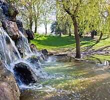 A small waterfall in Hanley park Stoke on Trent by David Patterson