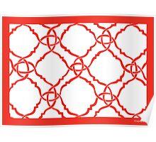 classic modern lattice vibrant orange Poster