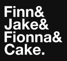 Finn & Jake & Fionna & Cake (white type) by freakysteve