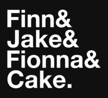 Finn & Jake & Fionna & Cake (white type) Kids Tee