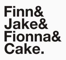 Finn & Jake & Fionna & Cake (black type) by freakysteve