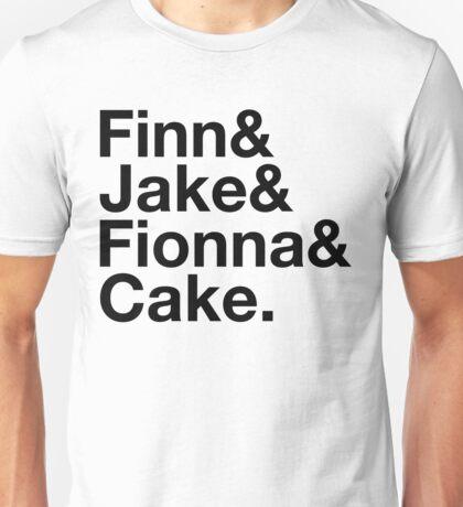 Finn & Jake & Fionna & Cake (black type) Unisex T-Shirt