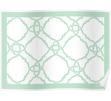 classic modern lattice pale mint green Poster