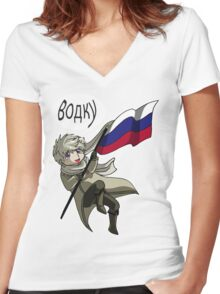 Falling Russia Women's Fitted V-Neck T-Shirt