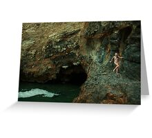 Bikini model posing in front of volcano crater in Palos Verdes, CA Greeting Card