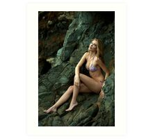Bikini model posing in front of rocks in Palos Verdes, CA Art Print