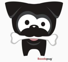 Black Pug Bone! White Tees and Stickers by boodapug
