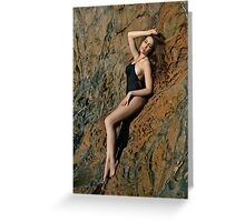 Swimsuit model posing in front of rocks in Palos Verdes, CA Greeting Card