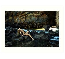 Topless model posing in front of rocks in Palos Verdes, CA Art Print