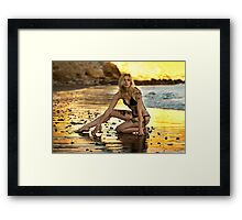 Sexy model posing at golden sunset at passific coast of California Framed Print
