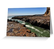 Mountains and lava field at Secret Cove of Palos Verdes, CA Greeting Card