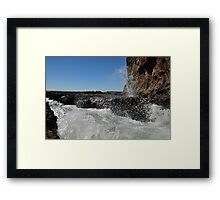Wave splsahes at lava field at Secret Cove of Palos Verdes, CA Framed Print